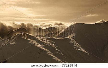Sepia Mountains In Mist At Sun Evening