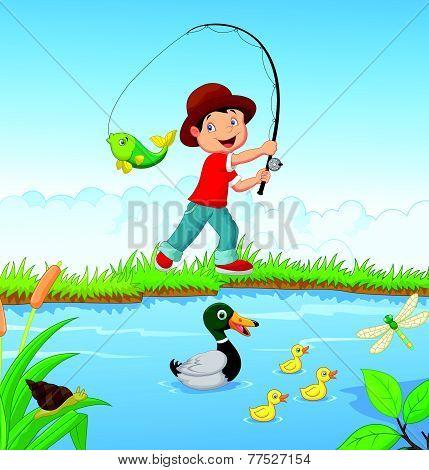 Little boy fishing vector