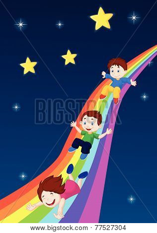 Kids Sliding Down a Rainbow