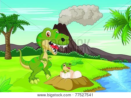 Vector Mother tyrannosaurus with baby hatching