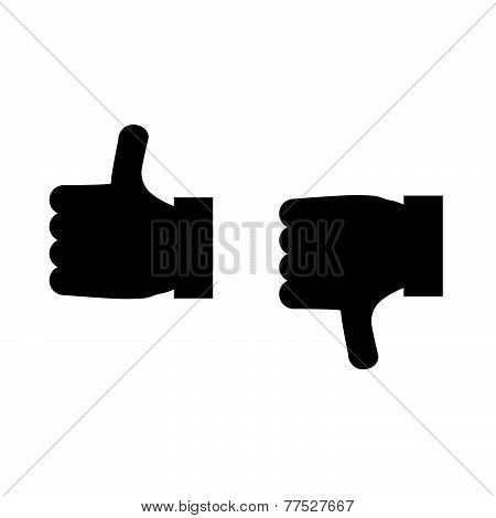 Thumbs Up And Thumbs Down Icon Vector