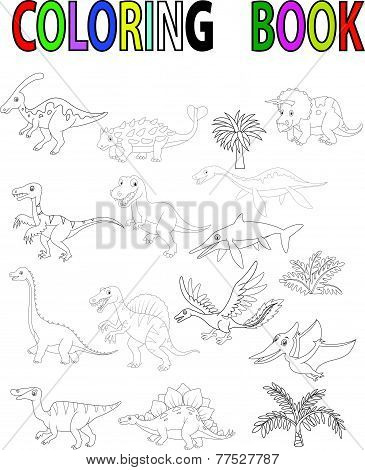 Dinosaur coloring book vector