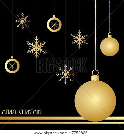 Christmas background with gold decorations
