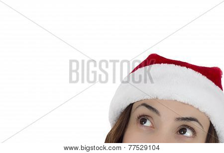 Santa Woman Looking Up Expectantly
