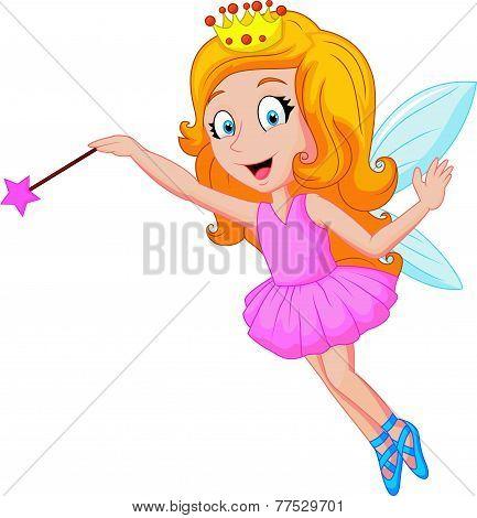 Cartoon fairy with magic wand