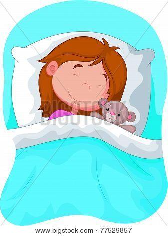 Cartoon girl sleeping with stuffed bear