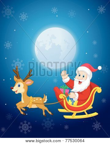 Santa in his Christmas sled being pulled by reindeer vector