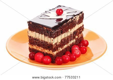 Chocolate cake with cranberries on orange plate