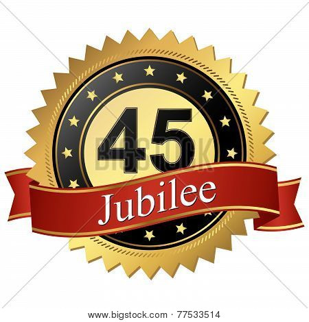 Jubilee Button With Banners - 45 Years
