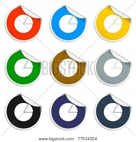 Circular Diagram Web Icon. Set Of Blank Stickers