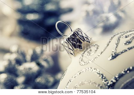 Luxury Christmas ball with ornaments in Christmas Snowy Landscape.