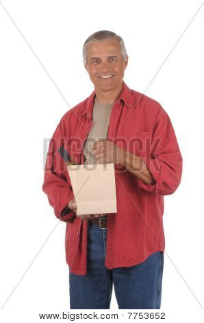Middle Aged Man With Wine Bottle