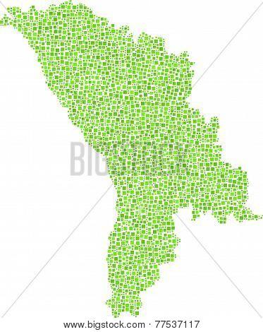 Isolated map of Moldova