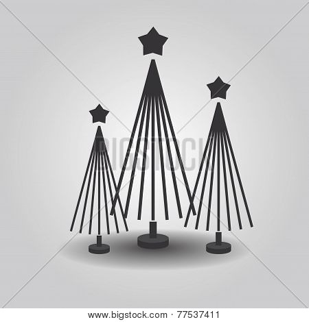 Abstract triple Christmas trees with star top and drop shadow