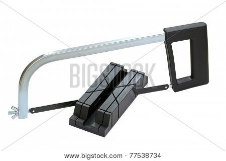 Miter box and saw in black color isolated on white background