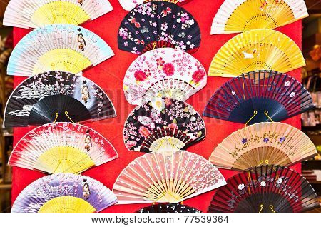 Japanese traditional  fans in Gion district, Kyoto,  Japan.