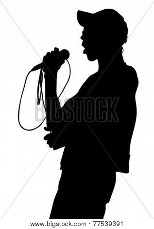 Singer of rock band on white background