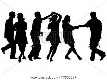Women and man dance on white background