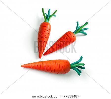 Carrot. Plasticine illustration.