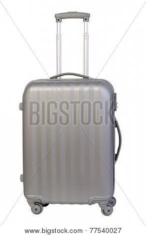 Modern suitcase isolated on white background