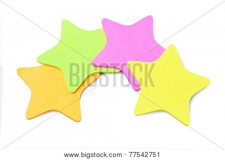 Star Shape Paper Stickers Arranged On White Background