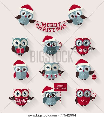 Christmas Owls. Flat Icons. Vector Set.