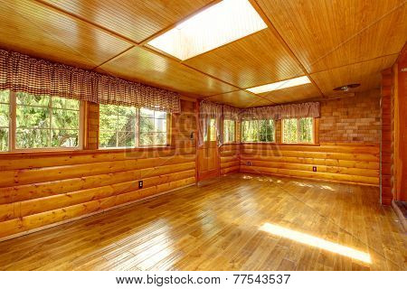 Bright Empty Log Cabin House Interior With Skylights