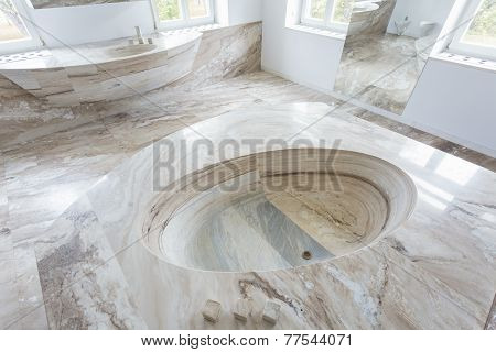 Marble Washbasin In Luxury Bathroom