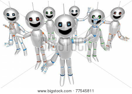 Group Of Greeting Cartoon Robots.
