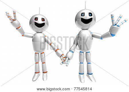 Cartoon Robot Couple