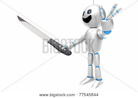 Cartoon Robot With A Kitchen Knife..