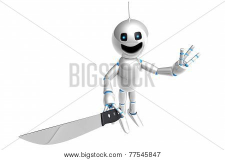 Cartoon Robot With A Kitchen Knife
