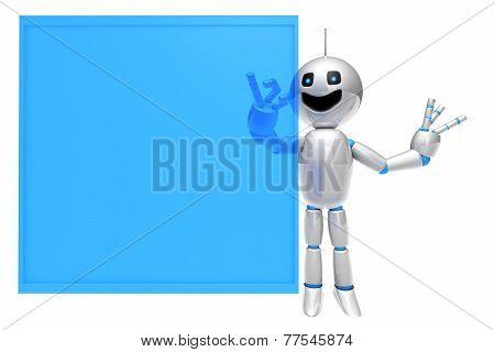 Cartoon Robot Using A Virtual Touchscreen.