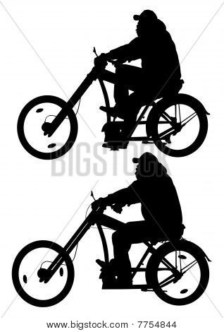 Big cyclist in motion