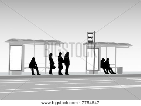 Bus stop people