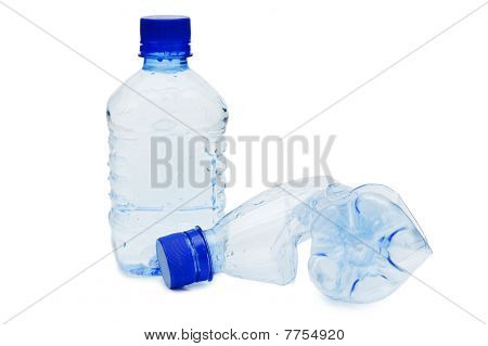 The Crumpled Plastic Bottle Isolated On White