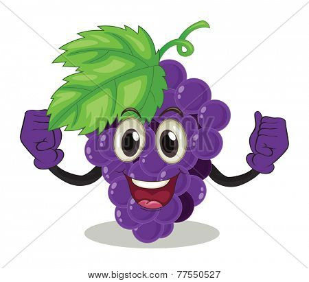 Smiling purple grapes on white background