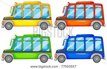 Set of four mini buses