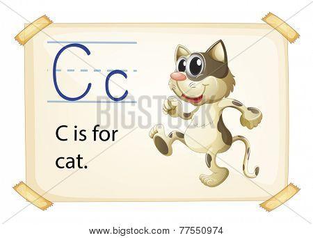 Illustration of a flashcard letter C