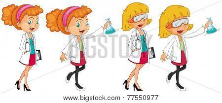 Four female scientists in uniform