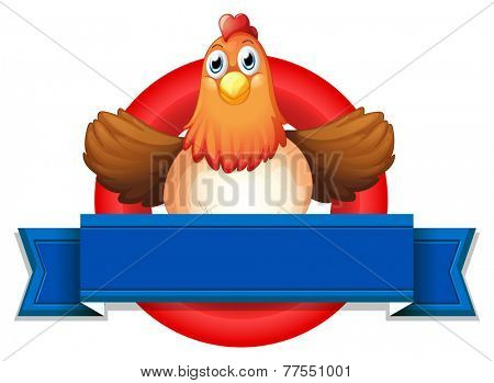 Illustration of a chicken and a banner