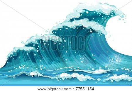 Illustration of a huge ocean wave