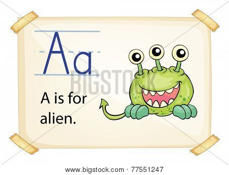 A letter A for alien on a white background