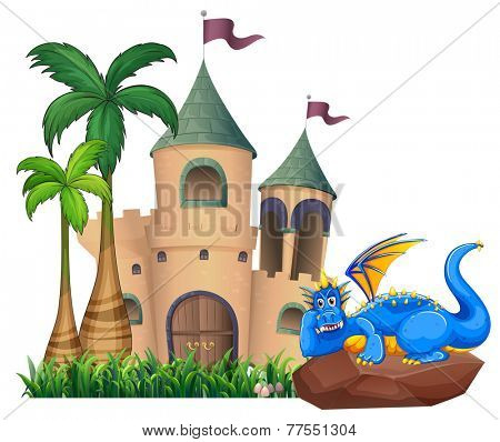 A blue dragon across the castle on a white background