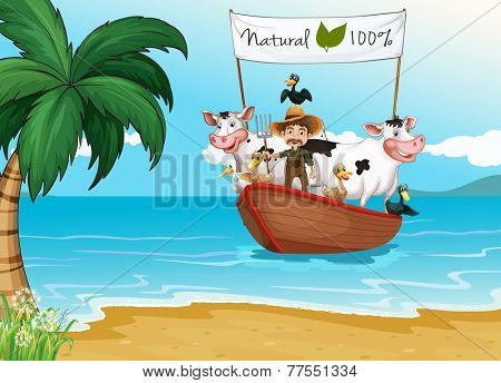 A boat with a farmer and animals at the beach