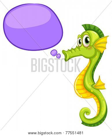 A seahorse with an empty callout on a white background