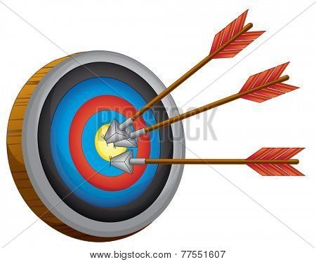 An archery board on a white background