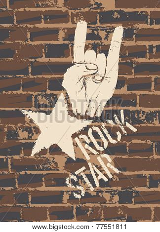 Rock Star Sign With Horns Gesture On Brick Wall. Raster version