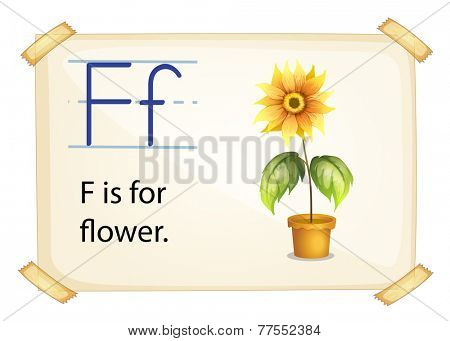A letter F for flower on a white background