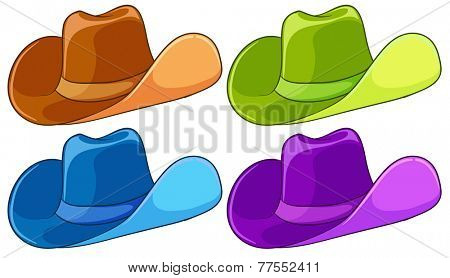 Four colourful headgears on a white background